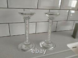 2 x Crushed Diamond Crystal candle holder Tealight Clear Silver Mirror Glass