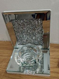 2 x Set of Mirrored Crushed Diamond Crystal Candle Holders (9cm and 17cm)