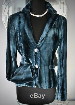 $200 CACHE SeXy SAPPHIRE BLUE CRUSHED VELVET JACKET PEPLUM CRYSTAL BUTTONS S M