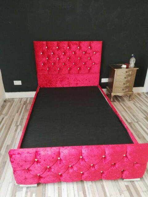 4 Foot Small Double Storage Bed In Beautiful Vermillion Red Crushed Velvet