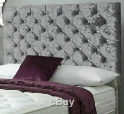48inch WALL HEADBOARD SUPER DESIGN CRYSTAL DIAMONDS CRUSHED VELVET ALL COLOURS
