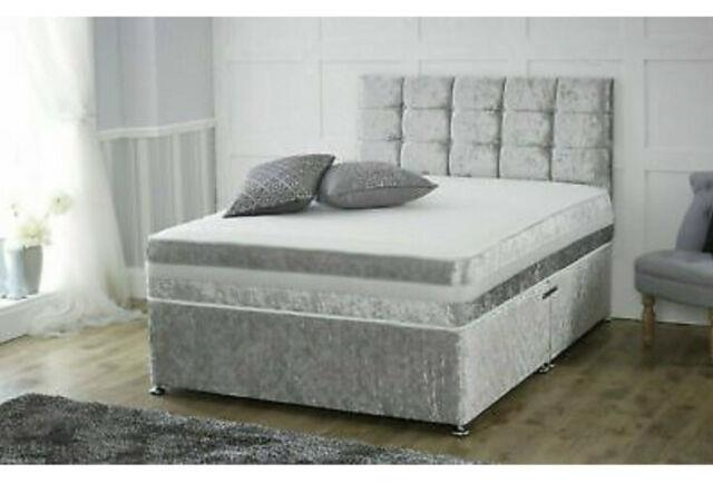 4ft Small Double Bed Crushed Velvet Silver Two Draws Same Side With Headboard