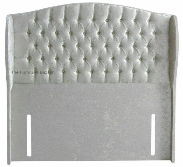 54 Inch Floor Standing Wing Design Headboard In Crushed Velvet With Buttons