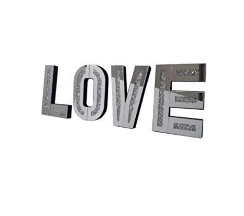 Amazing Gift Love Sign Silver Crushed Crystal Diamond Mirror Letters Wall Hung