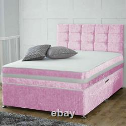 Baby Pink Crushed Divan Bed Including Mattress And Headboard