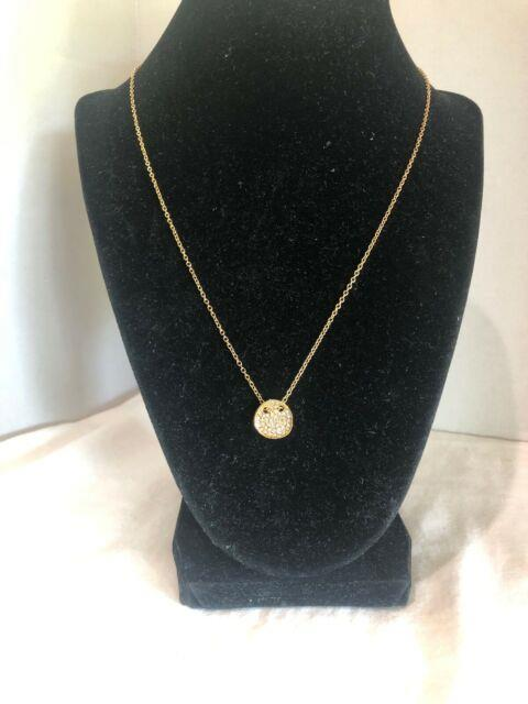 Baublebar Gold Necklace With Small Circle Pendant With Crushed Crystals