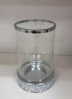 Beaded Crystal and Glass Hurricane Vase Candle Holder Crushed Crystal Grey Home