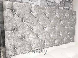 Chesterfield 28 High Silver Grey Crushed Velvet Crystal Deep Buttoned Headboard