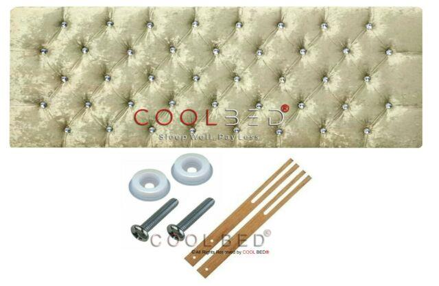 Chesterfield Headboard Cream Crushed Velvet With Crystal Diamante Buttons