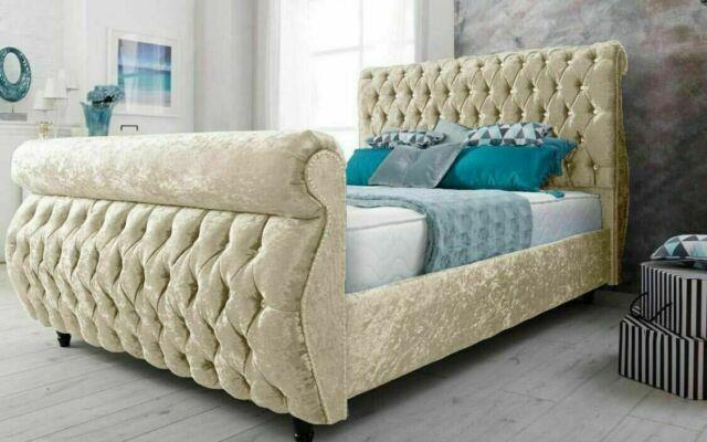 Chesterfield Swan Style Crushed Velvet Material Sleigh Bed