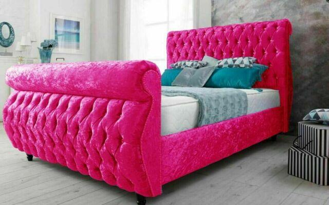 Crushed Chesterfield Pink Velvet Swan Sleigh Bed Small Double Kingsize 6ft