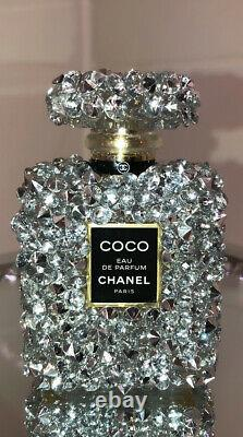 Crushed Diamond Crystal Perfume Bottle Ornament Silver Shelf Sitter 50ml