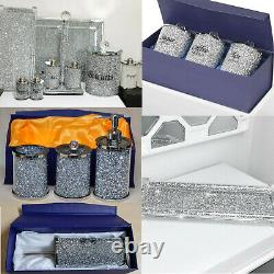 Crushed Diamond Silver Crystal Filled Toilet Bathroom Kitchen Accessories