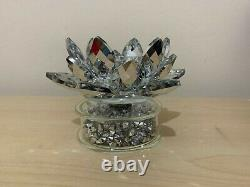 Crushed Diamond Spiner Candle Holder Lotus Filled Small