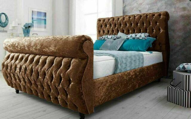 Crushed Velvet Brown Chesterfield Swan Sleigh Bed All Sizes In Stock