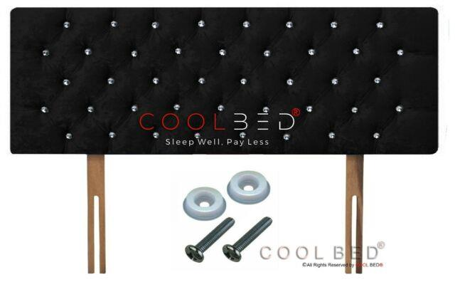 Crushed Velvet Chesterfield Headboard Black With Crystal Diamante Buttons