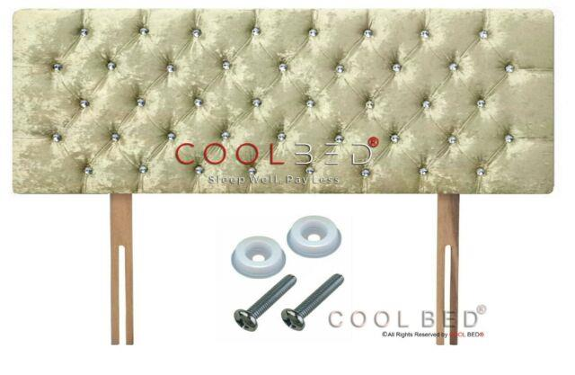 Crushed Velvet Chesterfield Headboard Cream With Crystal Diamante Buttons