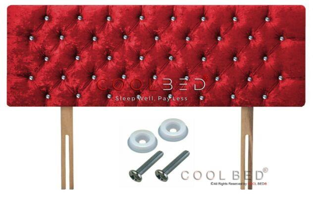Crushed Velvet Chesterfield Headboard Red With Crystal Diamante Buttons
