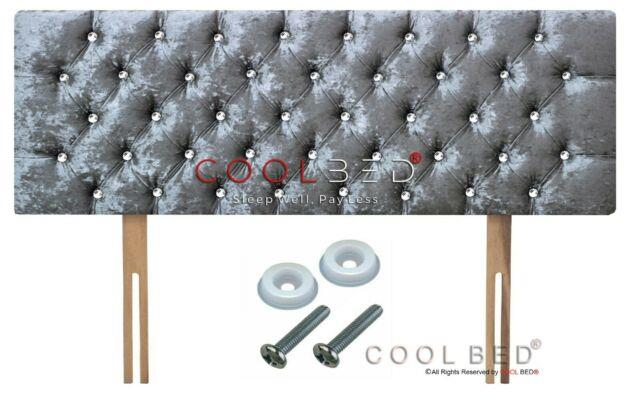 Crushed Velvet Chesterfield Headboard Silver With Crystal Diamante Buttons