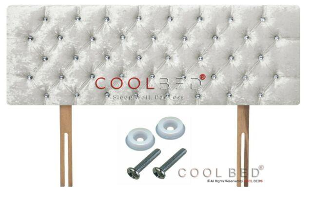 Crushed Velvet Chesterfield Headboard White With Crystal Diamante Buttons