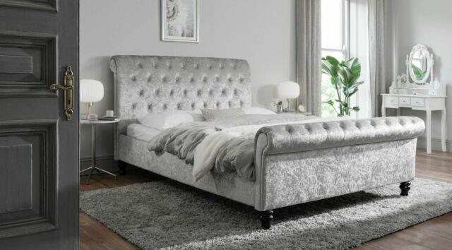Crushed Velvet Chesterfield Sleigh Bed, Second To None, Made In Uk- Free Delivery