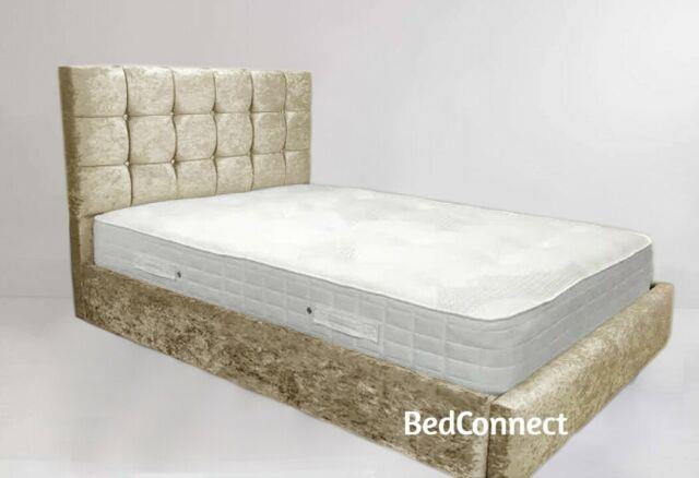 Crushed Velvet Cuba Bed, Chesterfield Bed, Bed Frame in All sizes & Colours
