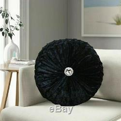 Crushed Velvet Cushion Small & Large Diamante Round Filled Cushions Sofa Pillows