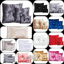Crushed Velvet Cushions Square Rectangle Filled Small & Large Diamond Stitched