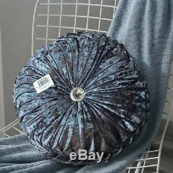 Crushed Velvet Filled Cushions Small & Large Round Diamante Cushion Sofa Pillows