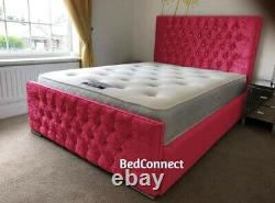 Crushed Velvet Florida Bed, Chesterfield Bed, Bed Frame in All Colours & Sizes