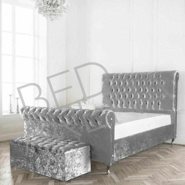 Crushed Velvet Modena Swan Bed, Sleigh Bed, Chesterfield Bed All Colours & Sizes