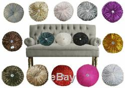 Crushed Velvet Round Filled Cushion Small & Large Stitched with Diamond