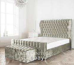 Crushed Velvet Westminster Bed, Wing back Bed, Winged Bed in All Colours & Sizes