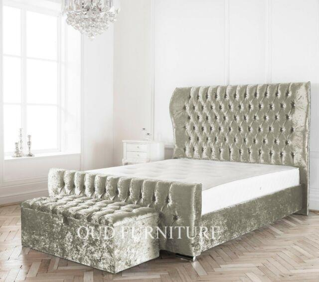 Crushed Velvet Westminster Winged Bed, Wing Back Bed In All Colours & Sizes