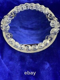Crystal Glass 20Cm Crushed Diamond Round Mirror Silver Candle Tray With Handles