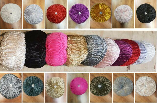 Diamond Round Cushion Crushed Velvet Filled Cover Chic Scatter New Diamante Fill