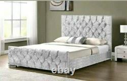Double Crushed Velvet Chesterfield Bed Frame And Different Colour And Free P&P