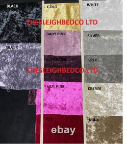 Double Crushed Velvet Fabric Chesterfield Sleigh bed frame all sizes colours