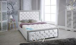 Double Crushed Velvet Glitter Bed Frame And Different Colour And Free P&P