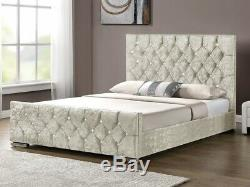 Florence Diamond Fabric Upholstered Bed Silver Crushed Velvet 4'6 Double 5FT