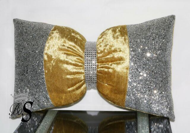 Gold Crushed Velvet, Silver Glitter Bow, Small Cushion