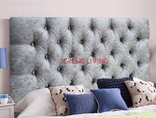 Headboard Chesterfield Crushed Velvet 20 Bed Head Small Double King Superking