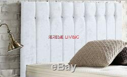 Headboard Divan Crushed Velvet Diana 20 Crystal Or Matching Buttons