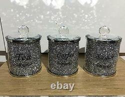 Lovely Crushed Crystal Diamond Filled Tea Coffee Sugar Canister 3 Jar Set Small