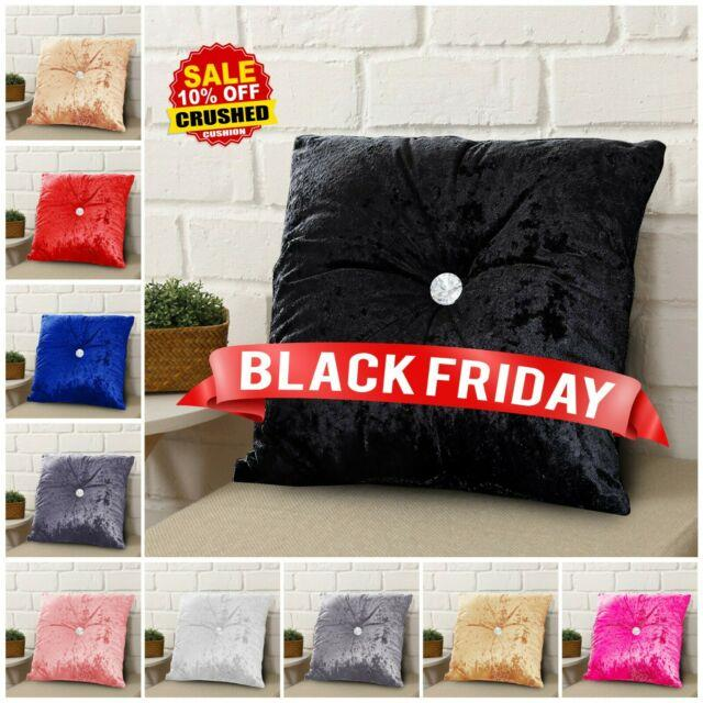 Luxury Crushed Velvet Cushion Diamond Filled Cushions Small & Large Pillow Pads