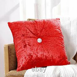 Luxury Crushed Velvet Filled Cushions Small Large Bedroom Pillows Sofa Cushion