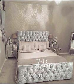 Luxury Crushed Velvet Florida Bed, Chesterfield Bed, Bed Frame In All Sizes