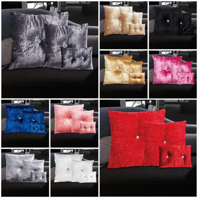 Luxury Crushed Velvet Glitter Cushion Cover Grey Small Large Sofa Bed Pillows