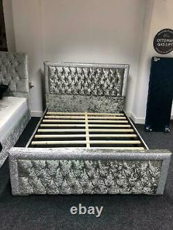Luxury Crushed Velvet Glittered Bed, Bed Frame, Bed in All Colours and Sizes