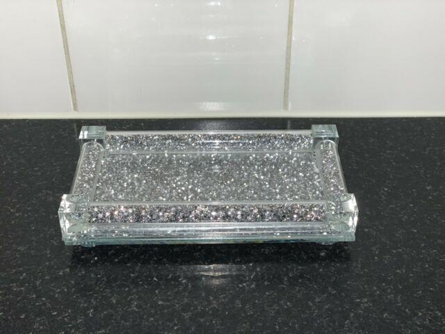 Luxury Silver Crushed Crystal Tray For Salt And Pepper Shakers, Kitchen Bling